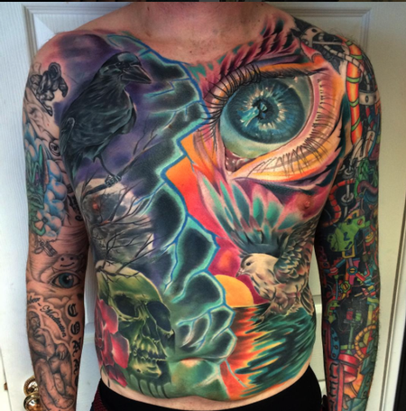 Chest & Stomach Panel Tattoo Design
