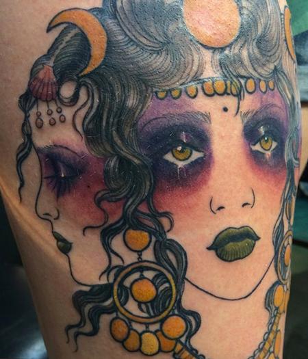 Hekate Moon Gypsy Tattoo Design