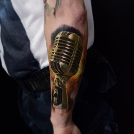 Realistic Color Microphone Tattoo Tattoo Design