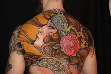 Gypsy Head Chest Piece Tattoo Design