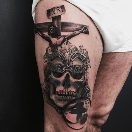 Crucifix and Adorned Skull Tattoo Design
