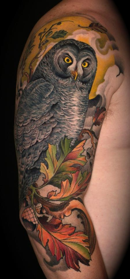 great grey owl and oak Tattoo Design