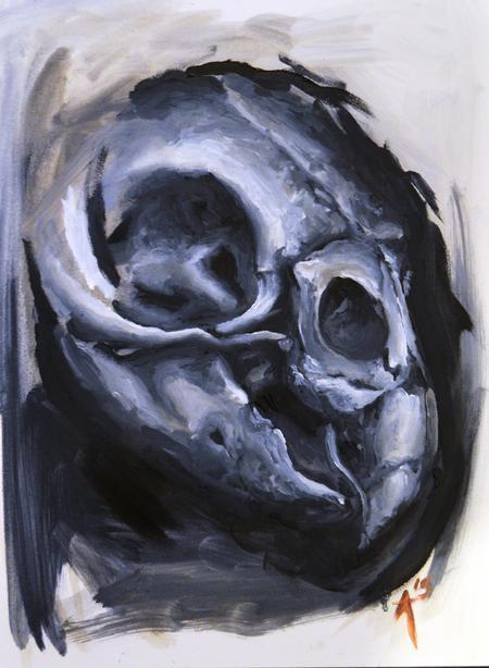 Tattoos - Bird Skull Oil Painting - 112132