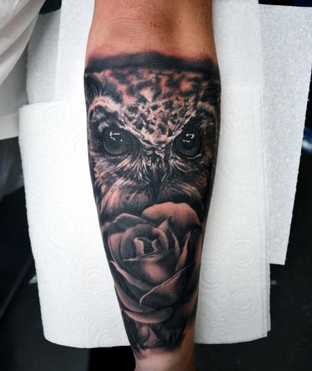 Tattoos - Owl and Rose - 127924