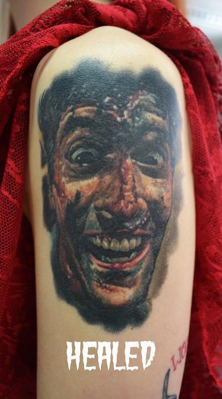 Tattoos - Healed Ash Williams Evil Dead Portrait - 104350