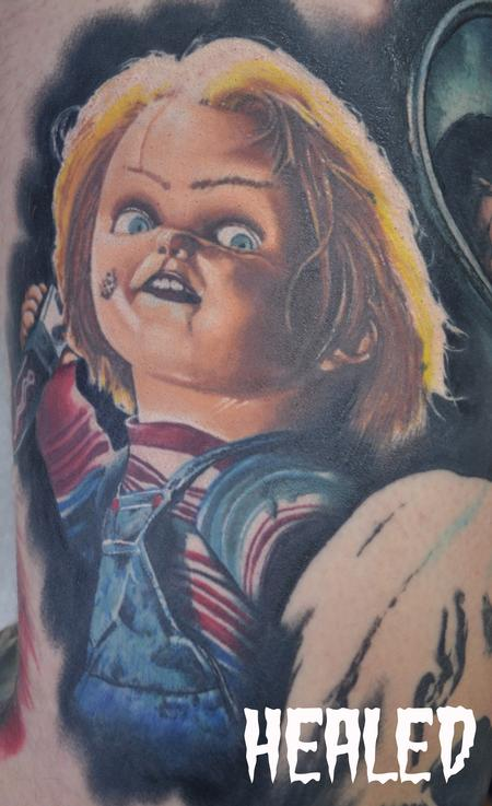 Tattoos - Healed Chucky Childs Play Portrait In Progress Horror Leg Sleeve - 104349
