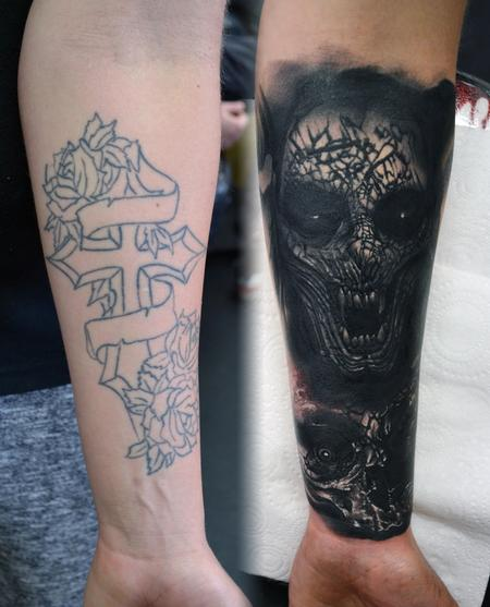 Alan Aldred - Demon and Skull Cover-Up Tattoo