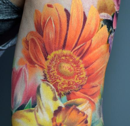 Tattoos - Healed Close Up Floral Sleeve  - 142941