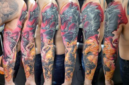 Tattoos - Ghost Rider / Guillotine Marvel Sleeve - 132501
