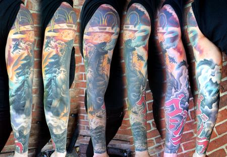 Alan Aldred - Godzilla sleeve tattoo
