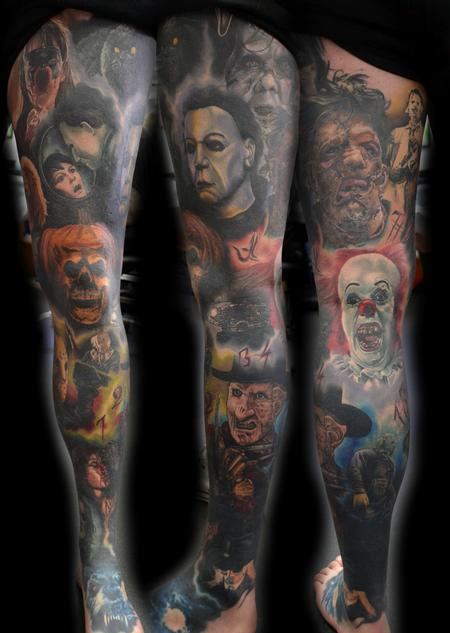 Tattoos - Horror Portrait Leg Sleeve Tattoo - 121718