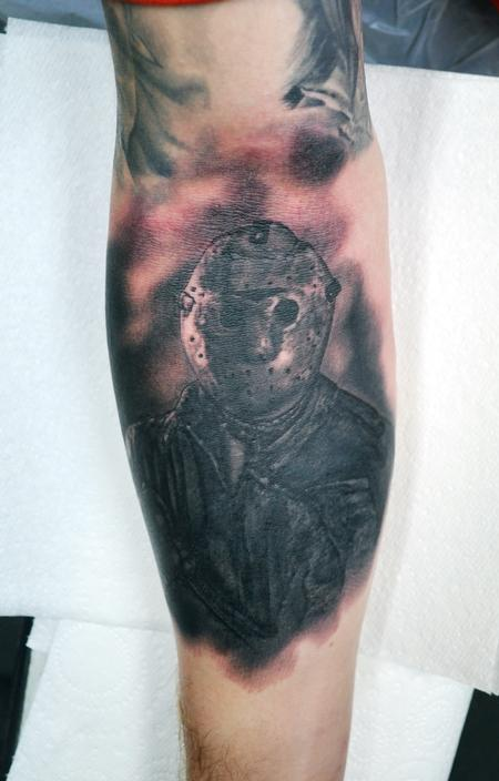 Tattoos - Black and Grey Jason Voorhees - 121957