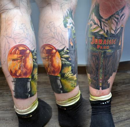 Tattoos - Jurassic Park Leg Sleeve Tatoo - 139635