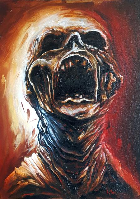 Alan Aldred - Monster oil painting.