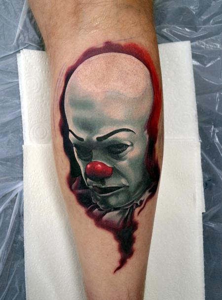 Alan Aldred - Pennywise IT Calf Portrait Tattoo