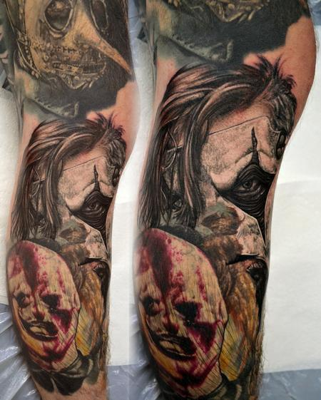 Tattoos - Jim Root Slipknot Leg Sleeve Portrait - 108420