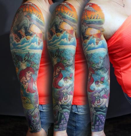 Tattoos - The Little Mermaid Sleeve Tattoo - 142936