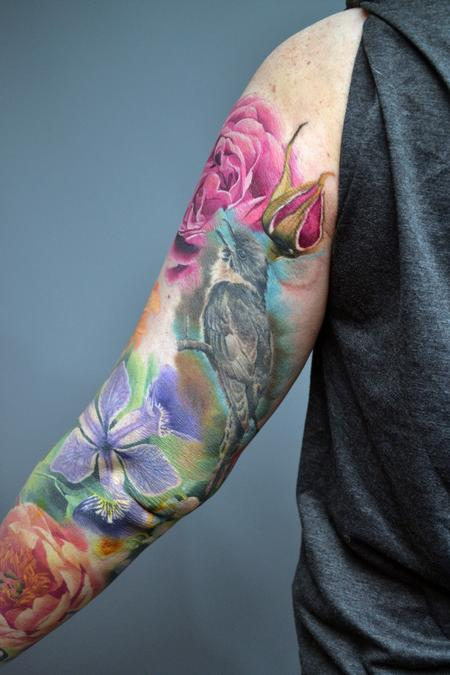 Alan Aldred - Work In Progress Nature Floral Sleeve Tattoo