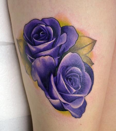Tattoos - Realistic Purple Roses - 110128