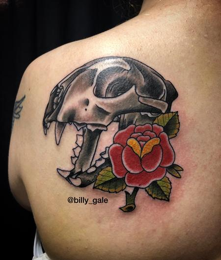 Billy Gale - Panther Skull & Rose tattoo