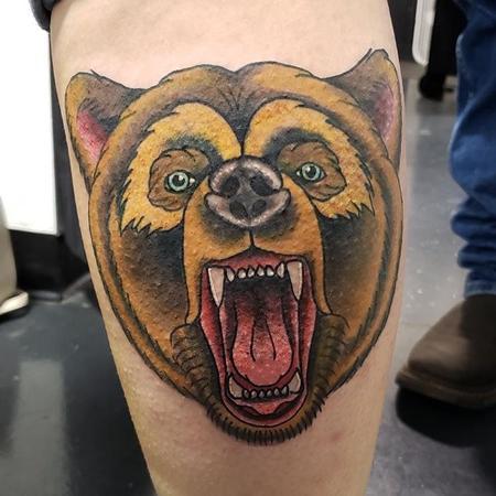 Tattoos - Neotraditional bear tattoo - 140505