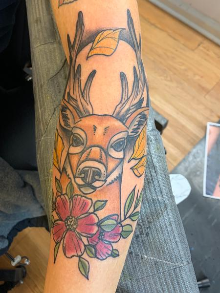 Tattoos - Neotraditional deer - 140618