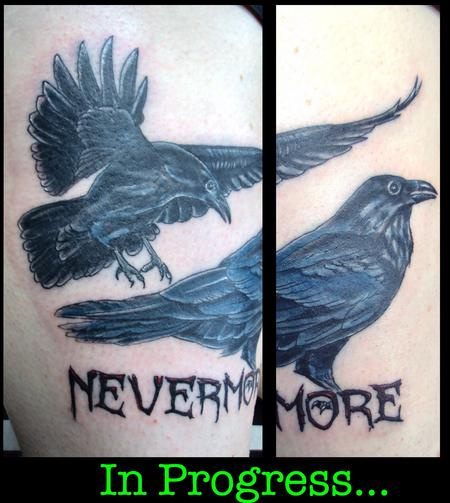 Tattoos - Crows and Lettering, In Progress  - 140997