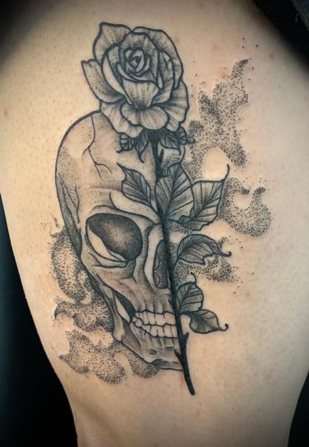 Tattoos - Skull rose - 143036