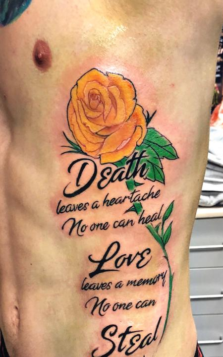 Tattoos - Yellow Rose and Quote on Ribs - 140955