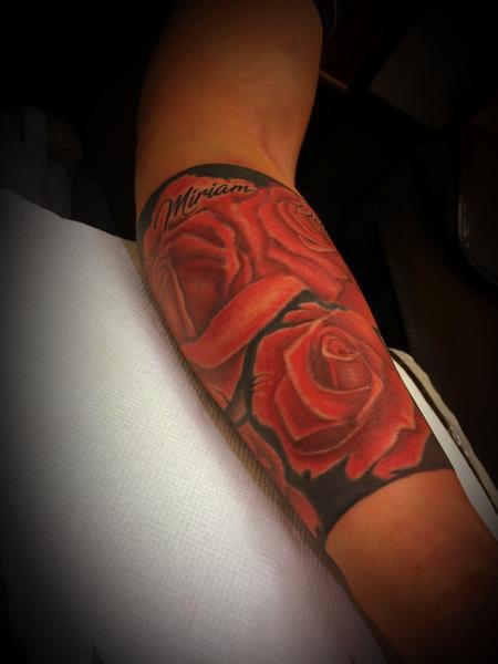 Tattoos - Warp around roses and black band  - 137584