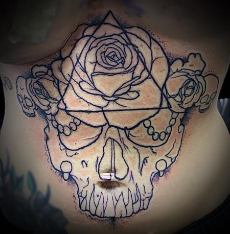 Ray Sorro - Geometric rose skull