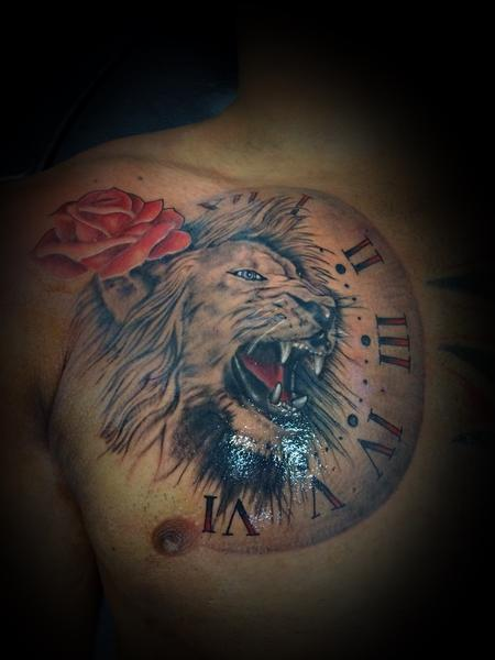 Tattoos - Lion w/ clock and rose - 137586