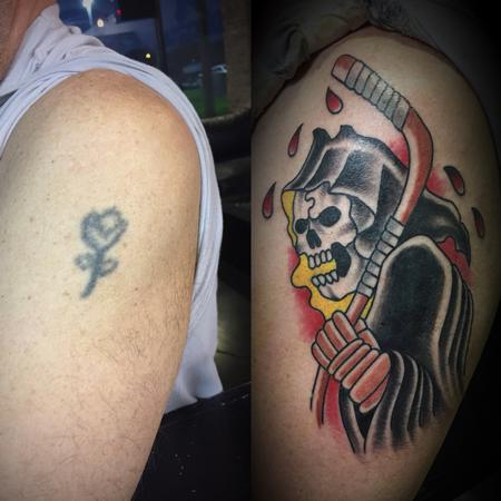 Tattoos - Cover up Traditional reaper - 131362