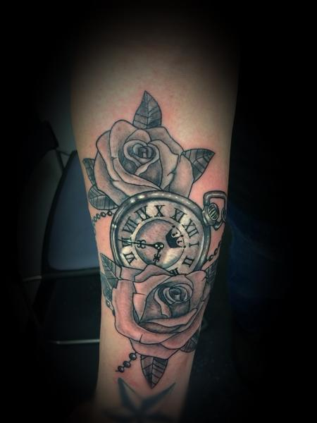 Tattoos - Clock and roses  - 137583