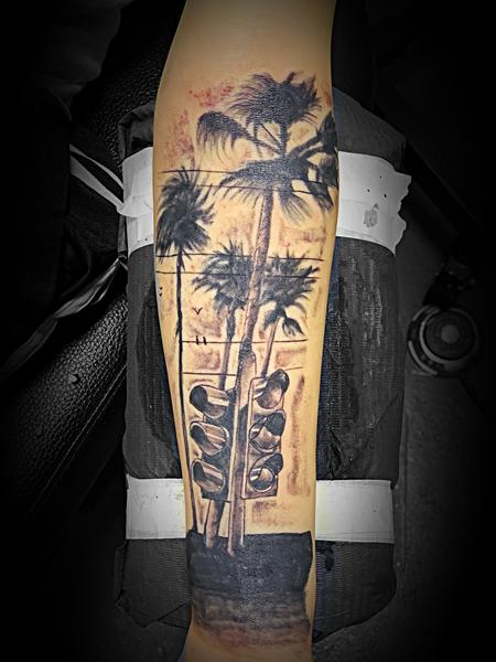 Tattoos - Palm trees and traffic lights - 138120