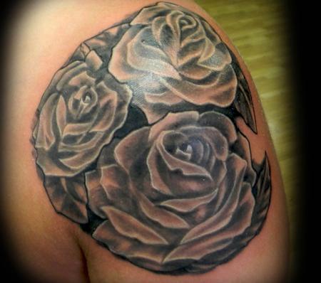 Tattoos - Black and Grey Roses - 140942