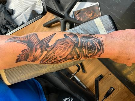 Tattoos - Dove rose praying hands - 141232