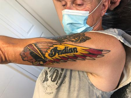 Tattoos - Indian Motorcycle Logo 10 days into healing - 142221