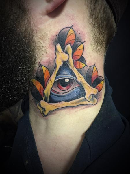 Tattoos - All seeing eye neck tattoo - 131064