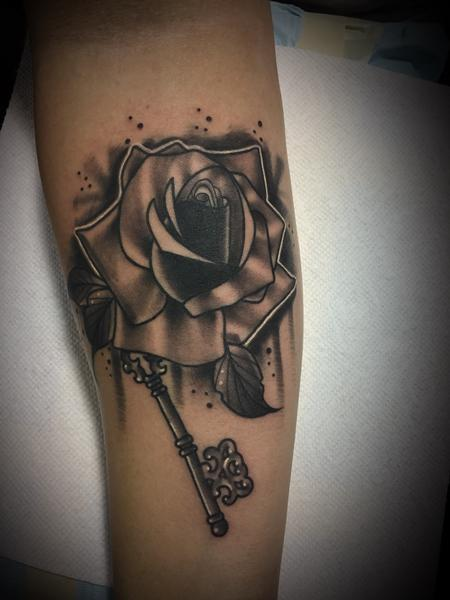 Tattoos - His rose and key tattoo - 131363