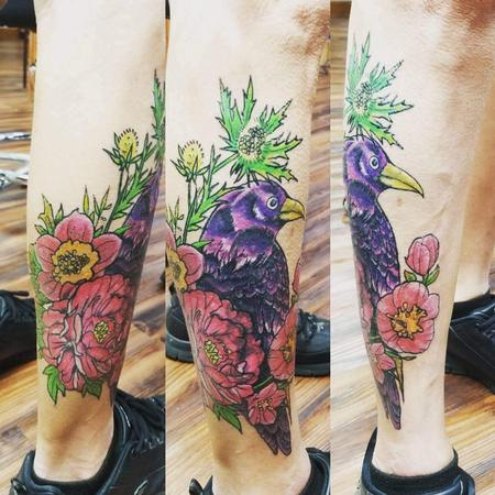 Tattoos - crow flowers - 133868