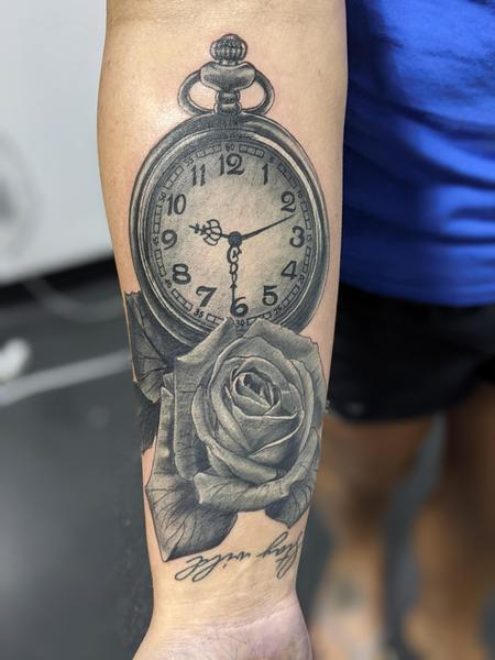 Tattoos - Rose and pocket watch - 142609
