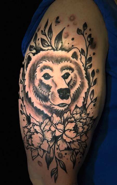 Tattoos - bear flowers - 138140