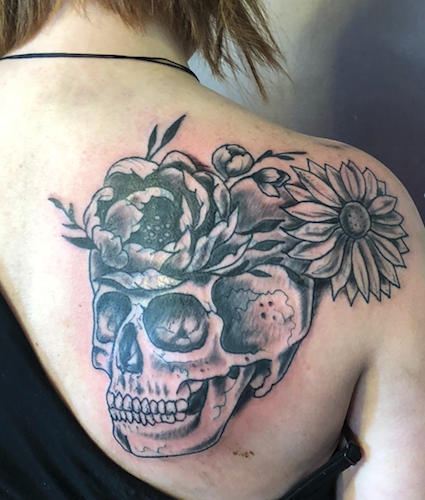 Tattoos - skull flowers - 138145