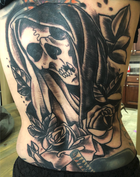 Tattoos - skull and flowers - 138357