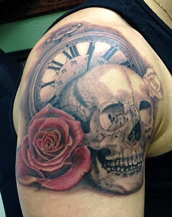 Tattoos - Skull with rose and clock - 91229