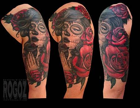 Tattoos - Dia de los muertos girl with roses - 139461