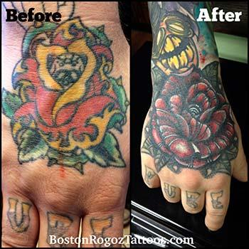 Tattoos - rose cover-up hand tattoo - 87067