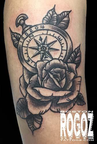 Tattoos - rose and compass tattoo - 119644