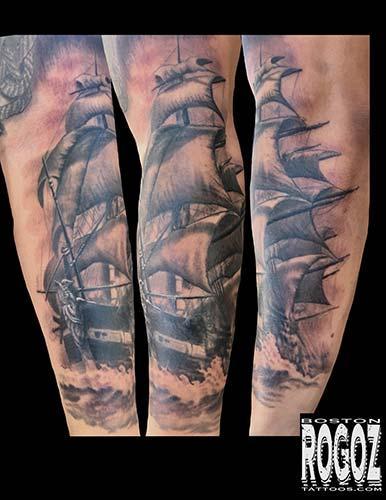 Tattoos - Black and grey ship tattoo - 127414